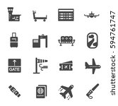 vector black airport icons set... | Shutterstock .eps vector #594761747