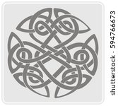 monochrome icon with celtic art ... | Shutterstock .eps vector #594766673