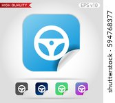 driver wheel icon. button with...