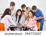teacher gives private lessons... | Shutterstock . vector #594772037