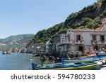 fishing village in calabria ... | Shutterstock . vector #594780233