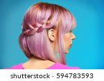 beautiful young woman with dyed ... | Shutterstock . vector #594783593