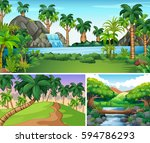 three scenes of river and... | Shutterstock .eps vector #594786293