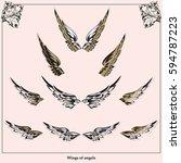 set of heraldic figures  wings   Shutterstock .eps vector #594787223