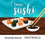 sushi japanese food.sushi rolls ... | Shutterstock .eps vector #594790913