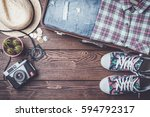 travel background with open... | Shutterstock . vector #594792317