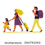 parents with child are going on ...   Shutterstock .eps vector #594792593
