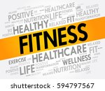 fitness word cloud collage ... | Shutterstock .eps vector #594797567