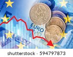 euro money with downward chart. ... | Shutterstock . vector #594797873