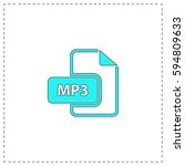 mp3 outline vector icon with...