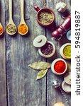 herbs table | Shutterstock . vector #594819887