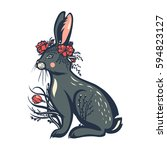 gray rabbit in flowers and a... | Shutterstock .eps vector #594823127