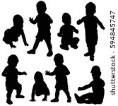 silhouette baby  collection ... | Shutterstock . vector #594845747