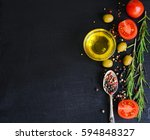 top view of olive oil and... | Shutterstock . vector #594848327