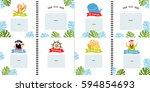 a photo book with cartoon... | Shutterstock .eps vector #594854693