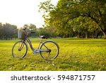 beautiful vintage bicycle in... | Shutterstock . vector #594871757