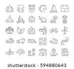set  line icons in flat design... | Shutterstock . vector #594880643