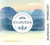 vector ayurveda illustration... | Shutterstock .eps vector #594881147