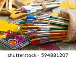 paints and brushes | Shutterstock . vector #594881207