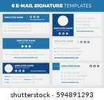 set of 6 flat and modern e mail ... | Shutterstock .eps vector #594891293