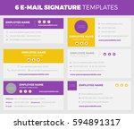 set of 6 flat and modern e mail ... | Shutterstock .eps vector #594891317