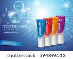 whitening toothpaste concept... | Shutterstock .eps vector #594896513