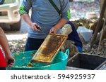 beekeeper is working with bees... | Shutterstock . vector #594925937