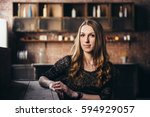 girl in the grunge studio  with ... | Shutterstock . vector #594929057