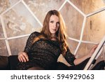 girl in the grunge studio  with ... | Shutterstock . vector #594929063