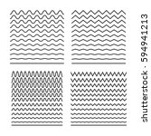 Vector set of seamless wavy lines good for brushes, halftone patterns, tiling sea textures, sinusoids, equalizers, backgrounds. Abstract curvy lines, zigzag, criss cross. Horizontal wrapping elements | Shutterstock vector #594941213