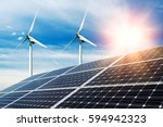 photo collage of solar panels... | Shutterstock . vector #594942323