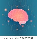pink 3d wireframe polygonal... | Shutterstock .eps vector #594959057