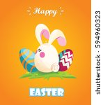 happy easter.rabbit disguised... | Shutterstock .eps vector #594960323