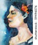 watercolor woman portrait | Shutterstock . vector #59496076