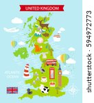 a map of the united kingdom... | Shutterstock .eps vector #594972773