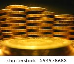 Small photo of money, money, money. wall. coins. gold reserves
