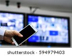cctv security camera monitor in ... | Shutterstock . vector #594979403