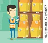 asian warehouse worker working... | Shutterstock .eps vector #594988037
