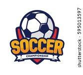soccer championship logo ... | Shutterstock .eps vector #595013597