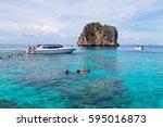 koh haa island  krabi  thailand ... | Shutterstock . vector #595016873