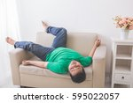 portrait of lazy fat obese man... | Shutterstock . vector #595022057