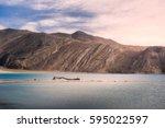 pangong lake in ladakh | Shutterstock . vector #595022597