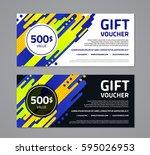 gift voucher template with... | Shutterstock .eps vector #595026953