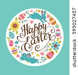 happy easter greeting card.... | Shutterstock .eps vector #595027457