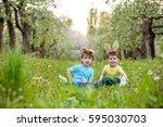 catholic easter tradition egg... | Shutterstock . vector #595030703