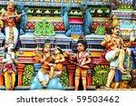 Gopuram (tower) of Hindu temple, Murugan Temple, Chennai, India - stock photo