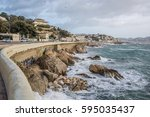 marseille storm of mistral on... | Shutterstock . vector #595035437