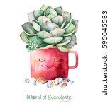 watercolor handpainted... | Shutterstock . vector #595045583