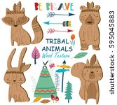 vector set of woodland tribal... | Shutterstock .eps vector #595045883