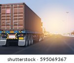 truck on highway road with red... | Shutterstock . vector #595069367